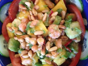 shrimp avo and mango salad